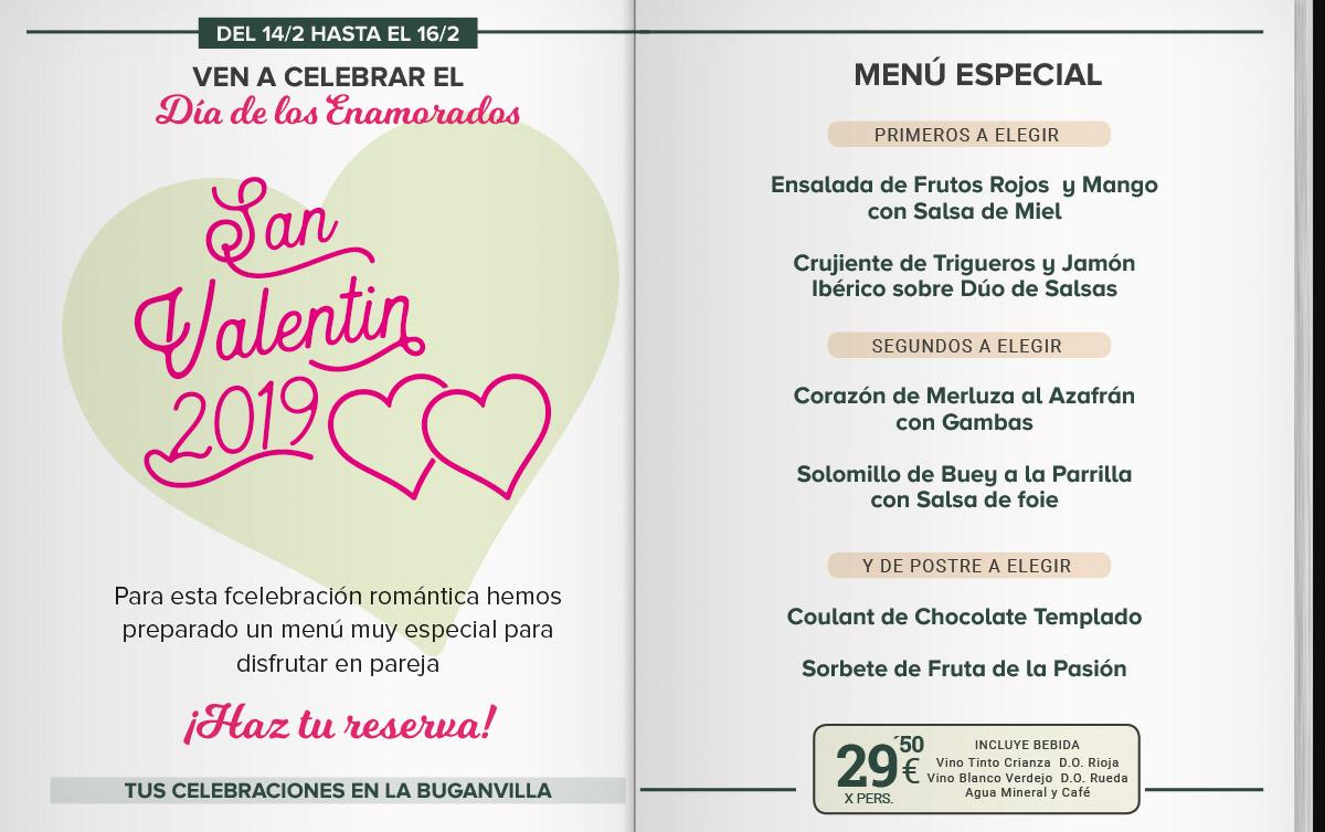 Menú San Valentín 2019